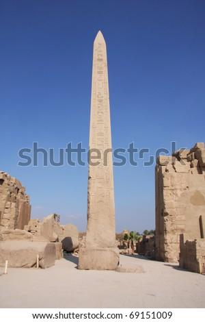Obelisk Karnak Temple Luxor, Egypt, clear blue sky - stock photo