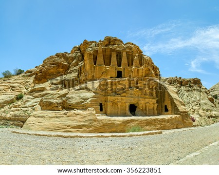 Obelisk Tomb and the Triclinium in the ancient cave city of Petra - Jordan - stock photo