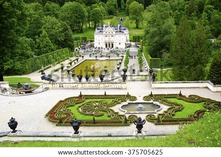 OBERAMMERGAU, GERMANY - JUNE 10, 2012: Linderhof Palace and garden. Linderhof Palace is the smallest of the three palaces built by King Ludwig II of Bavaria;