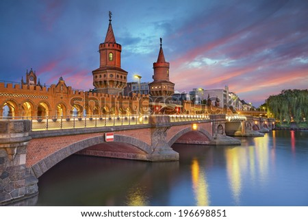Oberbaum Bridge, Berlin. Image of Oberbaum Bridge in Berlin, during dramatic sunset. - stock photo