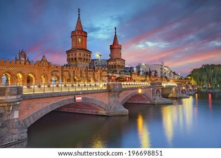 Oberbaum Bridge, Berlin. Image of Oberbaum Bridge in Berlin, during dramatic sunset. - stock photo