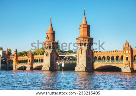 Oberbaum bridge in Berlin, Germany on a sunny day - stock photo