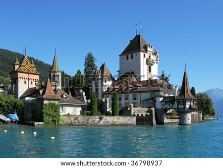 Oberhofen castle at the lake Thun, Switzerland