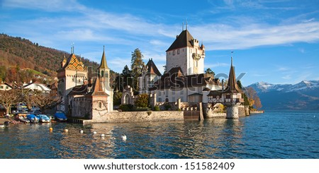 Oberhofen castle on lake Thun (Jungfrau region, canton Bern, Switzerland)