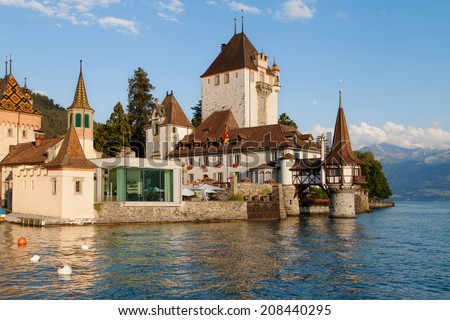 Oberhofen Castle on the Lake of Thun, Switzerland.