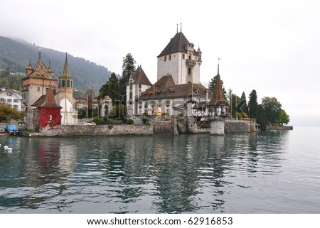 Oberhofen Castle on the lake of Thun, Switzerland