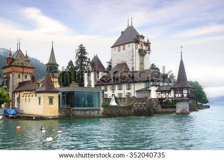 OBERHOFEN, SWITZERLAND- JUNE 15, 2015: Oberhofen Castle. In 1952 it became a part of the Historical Museum of Bern and two years later they opened a branch in the castle.