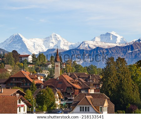 Oberhofen village on the lake Thun, Switzerland - stock photo
