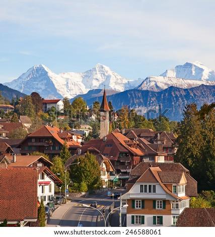 Oberhofen village on the lake Thun, Switzerland - stock photo