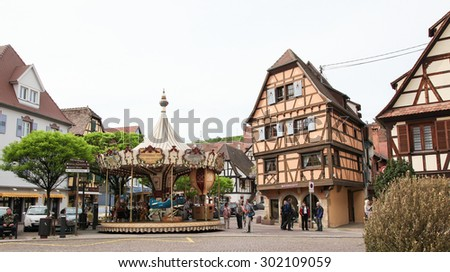 OBERNAI, FRANCE - MAY 8, 2015: Traditional half-timbered houses in Obernai, Alsace, France - stock photo