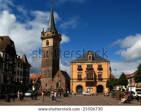Obernai town center, Alsace wine route, France - stock photo