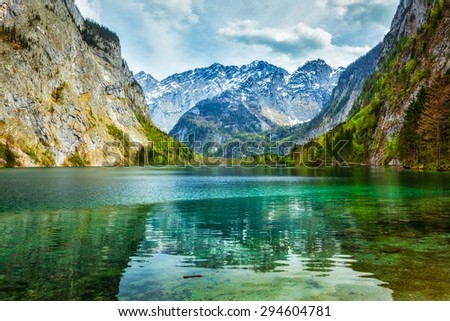Obersee - mountain lake in Alps. Bavaria, Germany - stock photo