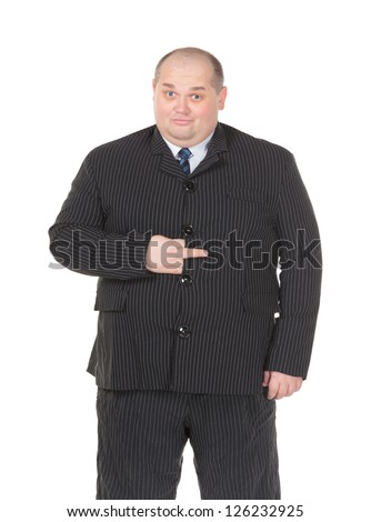 Obese businessman in a suit and tie making gesturing, isolated on white - stock photo