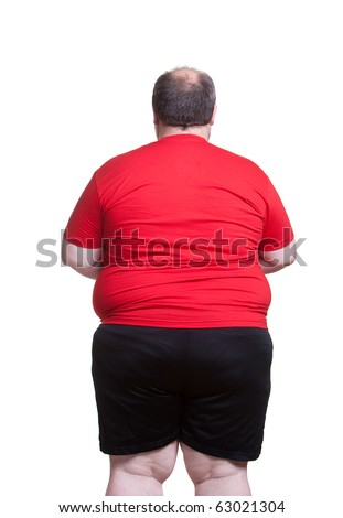 Obese man at 400lbs - back - stock photo