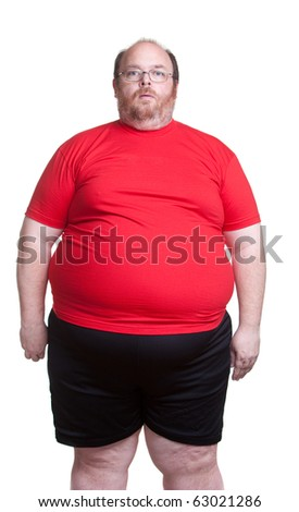 Obese man at 400lbs - front - stock photo