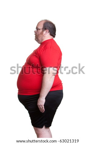 Obese man at 400lbs - left - stock photo