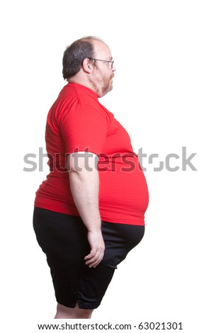Obese man at 400lbs - right - stock photo