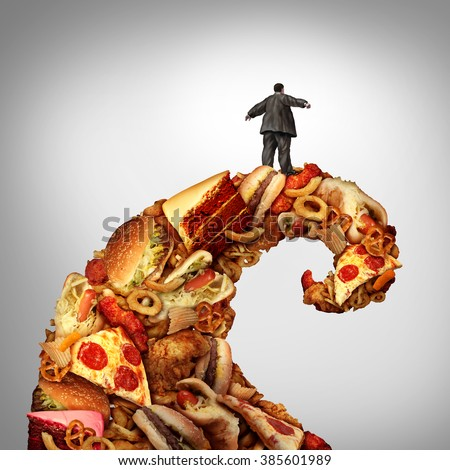 Obesity health risk as a fat person losing control riding a Junk food wave as a medical nutrition metaphor for the danger of unhealthy eating of fatty food or high sugar sweets. - stock photo