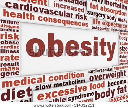 Obesity medical poster design. Overweight global problem message background - stock photo