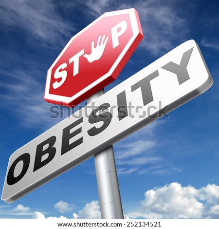obesity prevention stop over weight start campaign with low fat diet for obese children and adults with eating disorder - stock photo