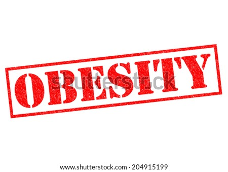OBESITY red Rubber Stamp over a white background. - stock photo