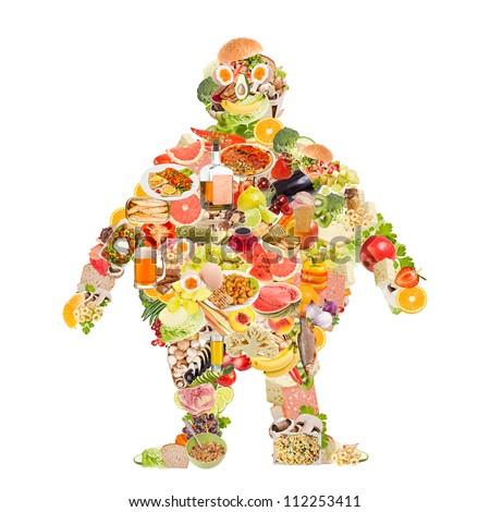 Obesity symbol made of food - stock photo