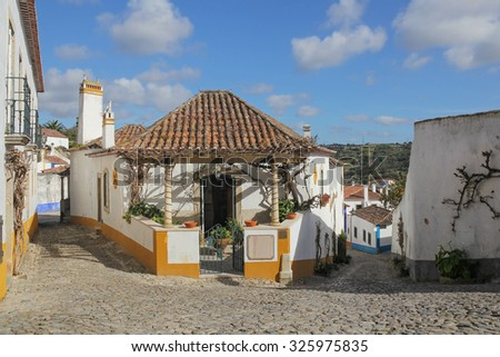 Obidos - extremely picturesque town in Portugal - stock photo