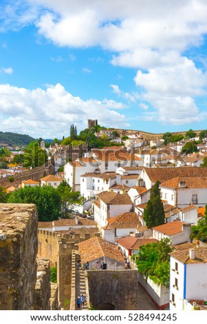 Obidos, Portugal : Cityscape of the town with medieval houses II