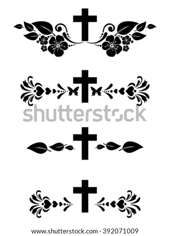 Obituary notice - art deco frames with cross. Collection of Christian Symbol design elements isolated on White background.  illustration  - stock photo
