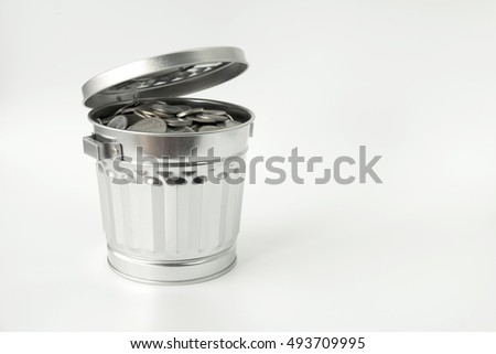 object element trash can save money with white background