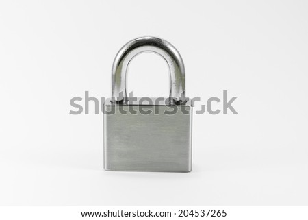 Object Metal lock on white background