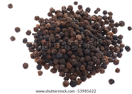 object on white - food black pepper close up - stock photo