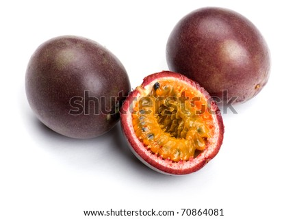 object on white - food Passionfruit close up - stock photo