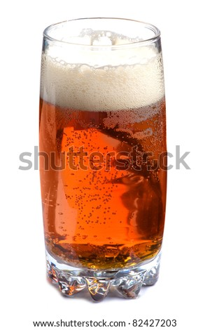 object on white - glass of beer close up