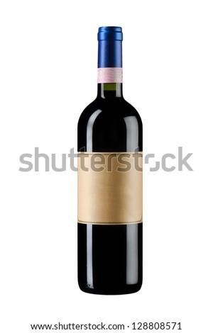 object on white - isolated wine bottle - stock photo