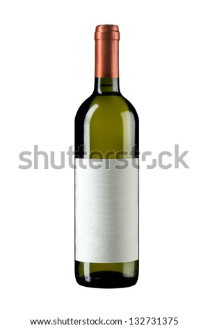 object on white - isolated wine bottle - stock photo