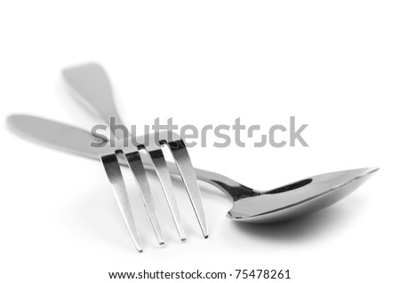 object on white - kitchen fork and spoon