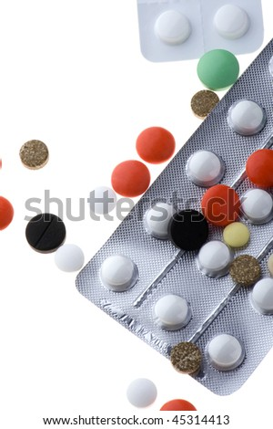 object on white - Medical Tablets close up