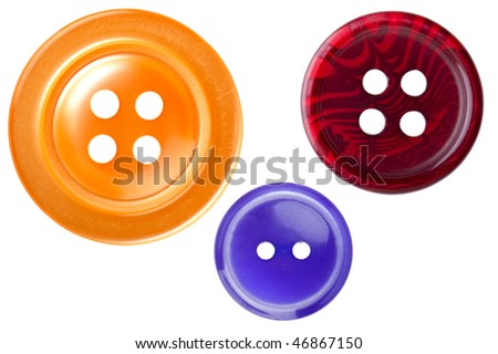 object on white - tool sewing button - stock photo