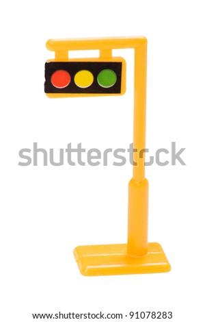 object on white - toy traffic light - stock photo