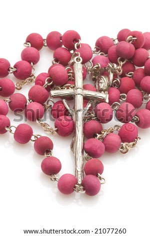 object on white - Vatican beads with cross - stock photo