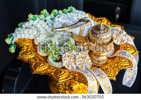 Object Set of Traditional Thai Wedding ceremony atmosphere decoration and artifacts. Object for blessed water or Relaunch ceremony. Select focus - stock photo