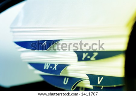 Object Shot - close-up detail of Generic roll-over contacts/ business card index. intentional selective focus, shallow Depth of Field (DOF) - stock photo