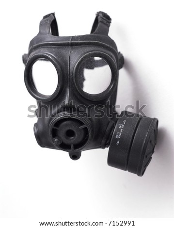 Object shot of a Gas Mask. Close up, Slight intentional depth of field shot. - stock photo