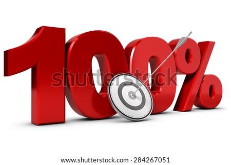 Objective One Hundred Percent. - stock photo