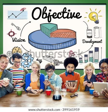 Objective Target Aspirations Aim Purpose Concept - stock photo