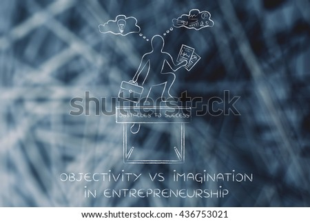 objectivity vs imagination in entrepreneurship: businessman overcoming obstacle by elaborating creative thoughts (right side of his brain) and analytical reasonings (his left side) - stock photo