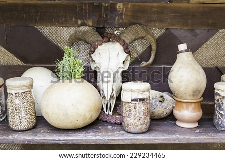 Objects for spells and witchcraft, detail of a table for witchcraft