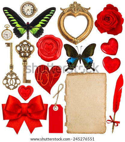 Objects for Valentines Day scrapbooking. Red hearts, photo frame, paper page, antique clock, key, ink pen, flower, butterfly, red ribbon bow - stock photo