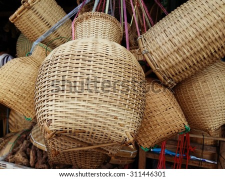 Objects from bamboo tree showing for selling in Thailand